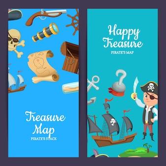 Modèles de bannière web dessin animé pirates de la mer