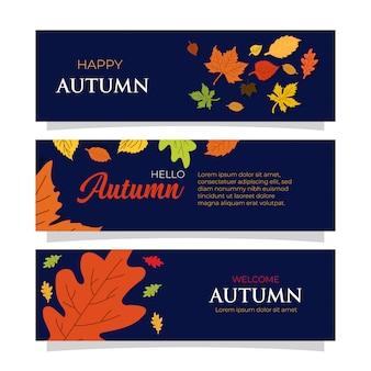 Modèles de bannières automne design plat