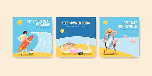 Modèles de bannières carrées d'été