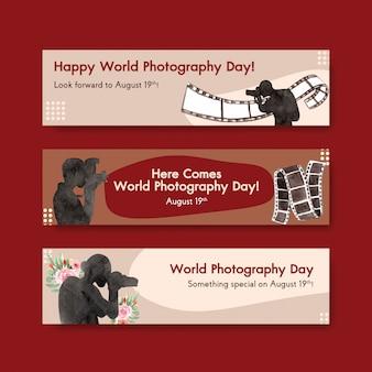 Modèles de bannières pour la journée mondiale de la photographie