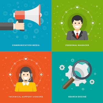 Modèles de bannières de promotion de sites web et icônes plats