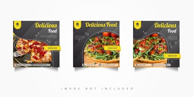 Modèles de bannières de publication de médias sociaux de nourriture délicieuse