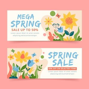 Modèles de bannières de vente d'été avec offres