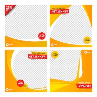 Modèles de bannières de vente orange pour le web et les médias sociaux