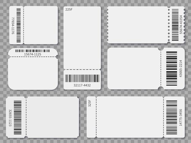 Modèles de billets. admission en blanc des billets et coupons de tombola pour un festival de concerts