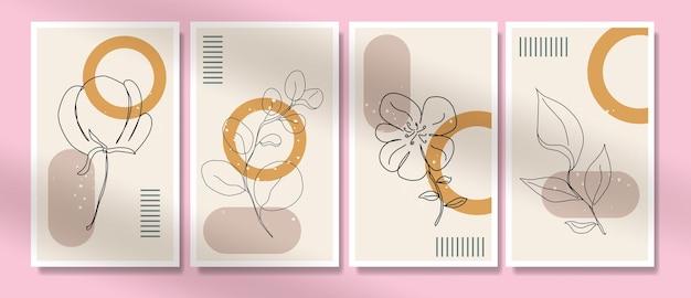 Modèles botaniques minimalis de ligne continue boho potrait dessinés à la main contemporains du milieu du siècle