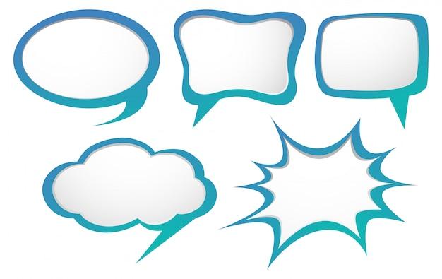 Modèles de bulle de discours en bleu