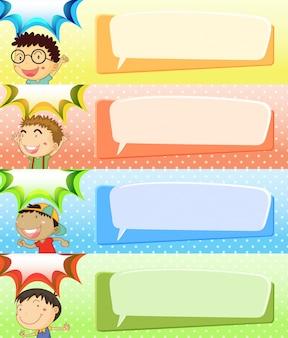 Modèles de bulle de discours avec quatre garçons