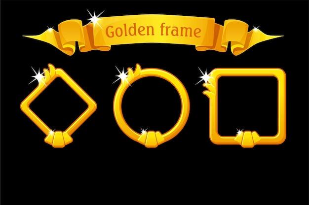 Modèles de cadre doré, ruban de récompense, différents cadres de formes pour les jeux d'interface utilisateur.