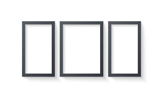 Modèles de cadre photo mur isolés sur fond blanc