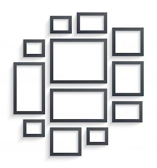 Modèles de cadres photo mur isolés sur fond blanc