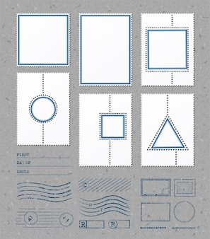 Modèles de cadres de timbres vierges avec place pour vos images et votre texte