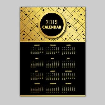 Modèles de calendrier noir et or 2019