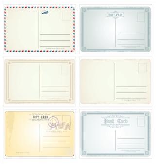 Modèles de carte postale vintage rétro vector collection