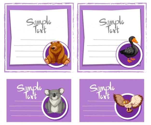 Modèles de cartes avec des animaux marrants