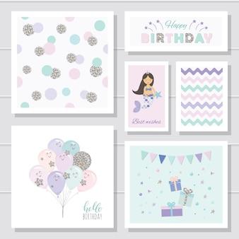 Modèles de cartes d'anniversaire mignons définis pour les filles.