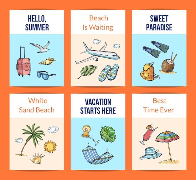 Modèles de cartes d'éléments de voyage d'été dessinés à la main de vecteur mis en illustration