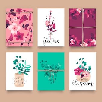 Modèles de cartes florales mignons