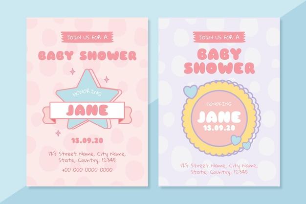 Modèles de cartes d'invitation de douche de bébé mignon
