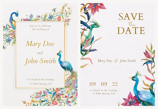 Modèles de cartes d'invitation avec illustration de paons et de fleurs à l'aquarelle