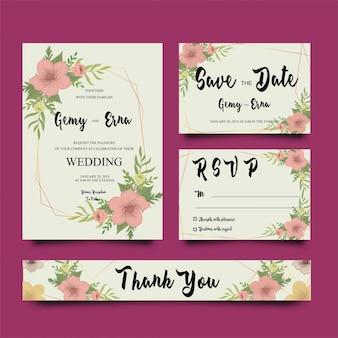 Modèles de cartes d'invitation de mariage avec des cadres de fleurs