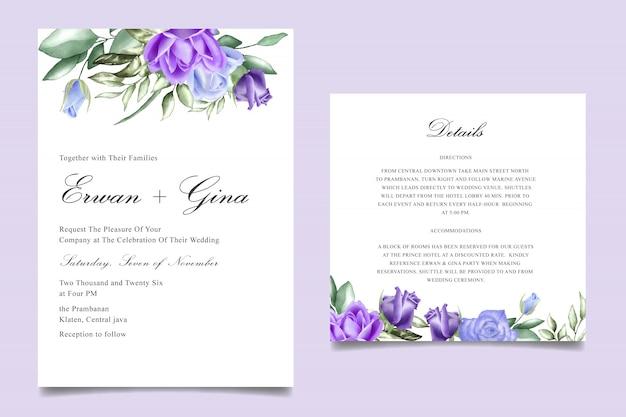 Modèles de cartes d'invitation de mariage floral aquarelle