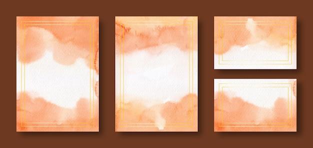 Modèles de cartes de mariage aquarelle orange avec cadre doré