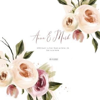 Modèles de cartes de mariage roses à l'huile, enregistrer les dates aquarelle