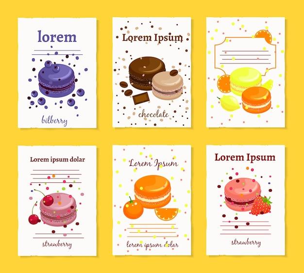 Modèles de cartes de recette de macarons sucrés français.