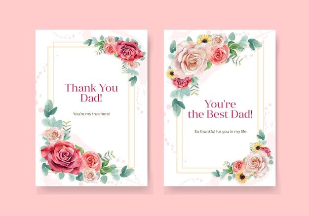Modèles de cartes de remerciement avec le concept de la fête des pères dans un style aquarelle