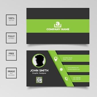 Modèles de cartes de visite élégance verte et noire