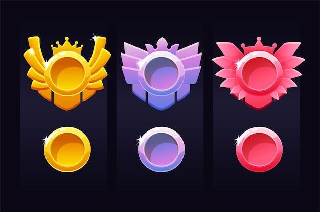 Modèles de cercle de réussite pour le jeu, emblèmes de récompense pour le gagnant