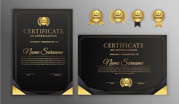 Modèles de certificat de forme géométrique moderne avec badges