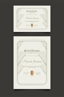 Modèles de certificats avec des ornements de vague dans un style classique