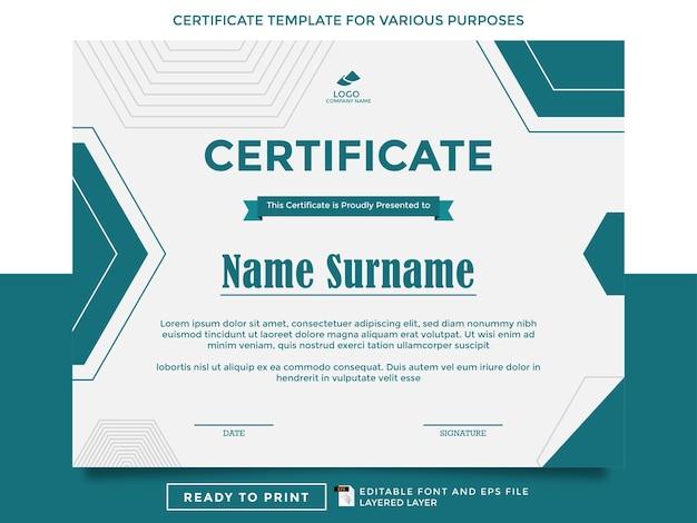 Modèles de certificats prêts à imprimer à diverses fins