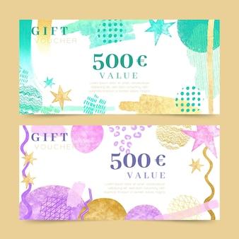 Modèles de chèques-cadeaux aquarelle