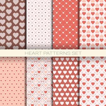 Modèles de coeur mis en arrière-plans sans couture rétro pour la saint-valentin