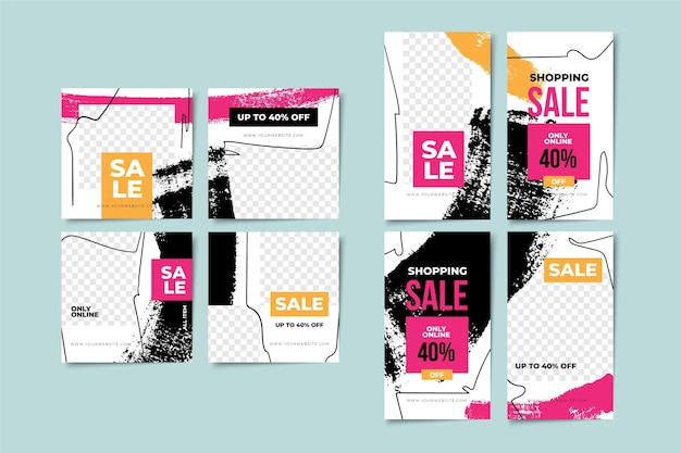 Modèles de collection d'histoires de vente et d'articles