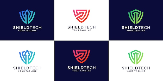 Modèles de concept de bouclier de technologie créative