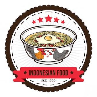 Modèles de conception de badge de nouilles alimentaires indonésien