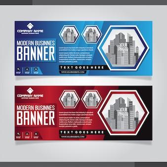 Modèles de conception de bannière abstraite rouge et bleu