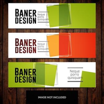 Modèles de conception de bannière corporative vert et orange avec des carrés sur fond blanc