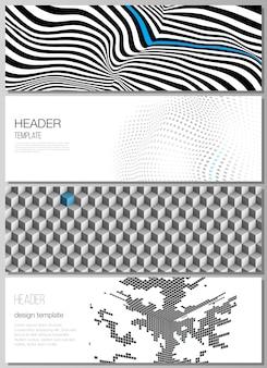 Modèles de conception de bannière minimaliste. concept abstrait de visualisation de données volumineuses avec des lignes et des cubes.