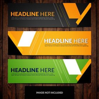 Modèles de conception de bannière noir vert et orange avec des rectangles et des lignes