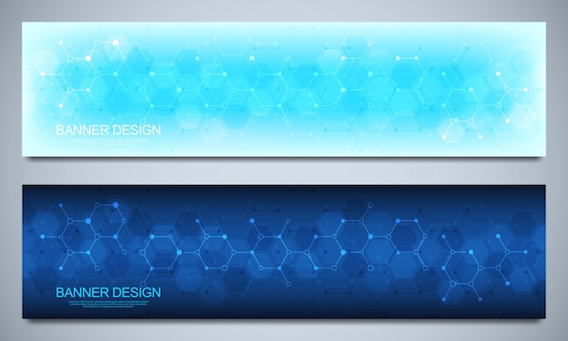 Modèles de conception de bannières et en-têtes pour site avec fond de structures moléculaires et génie chimique. concept de technologie de science, de médecine et d'innovation.