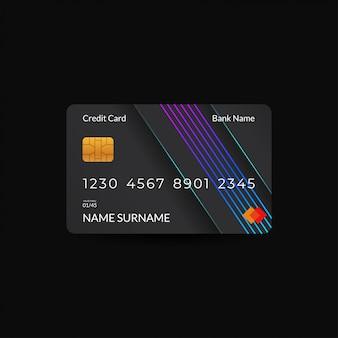 Modèles de conception de cartes de crédit avec des couleurs sombres et des motifs rvb néon