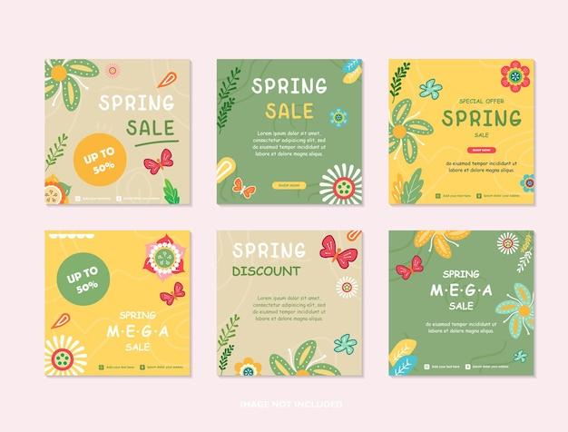 Modèles de conception de couverture de printemps histoires de médias sociaux fonds d'écran avec des feuilles et des fleurs de printemps