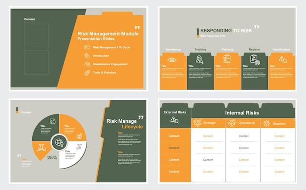 Modèles de conception de diapositives de présentation du module de gestion des risques sur fond blanc