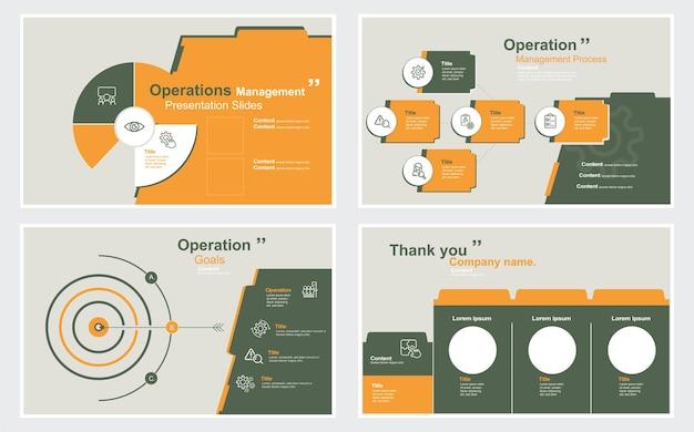 Modèles de conception de diapositives de présentation de gestion des opérations sur fond blanc infographie vectorielle