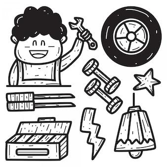 Modèles de conception de doodle de dessin animé mécanique dessinés à la main